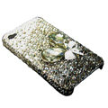 Swarovski crystal bling Flowers case for iphone 4 - black