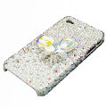 Swarovski crystal bling Flowers case for iphone 4 - white