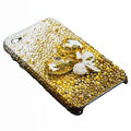 Swarovski crystal bling Flowers case for iphone 4 - yellow
