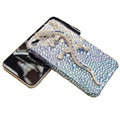 Bling Swarovski Crystal Gecko Case for iphone 4 - bule