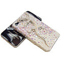 Bling Swarovski Crystal Gecko Case for iphone 4 - white