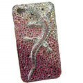 Bling Swarovski crystal Gecko case for iphone 4 - pink EB002