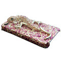 Swarovski Crystal bling Gecko Case for iphone 4 - pink