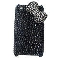 butterfly knot bling crystal case for iphone 3g/3gs - black