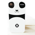 Cartoon Couple Panda Hard Cases Skin Covers for iPhone 4G/4S - Black