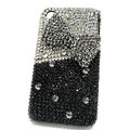 Butterfly knot bling crystal case for iphone 4 - black