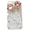 Bowknot Swarovski bling big crystal case for iphone 4G - pink