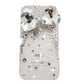 Bowknot Swarovski bling big crystal case for iphone 4G - white