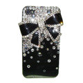 Bowknot Swarovski bling crystal case for iphone 4G - black
