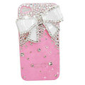 Bowknot Swarovski bling crystal case for iphone 4G - pink