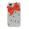 Bowknot Swarovski bling crystal case for iphone 4G - red