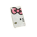 Bowknot kitty bling crystal case for iphone 4G - pink