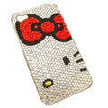 Bowknot kitty bling crystal case for iphone 4G - red