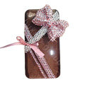 Bowknot crystal bling case for iphone 4G - pink
