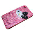 Brand New Bowknot kitty bling crystal case for iphone 4G - pink