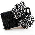 Large-bowknot Leopard crystal case for iphone 4G - white