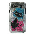 Brand New Charming cat crystal bling case for Samsung i9000 - black