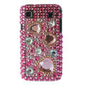 Brand New Hearts 3D crystal case for Samsung i9000 - pink