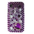 Brand New Hearts 3D crystal case for Samsung i9000 - purple