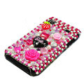 Brand New flowers bling crystal case for Samsung i9000 - pink