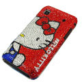 Hello Kitty Rhinestone Diamond Crystal case for Samsung i9000 - red