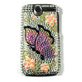 Butterfly bling crystal case cover for HTC G7 - yellow