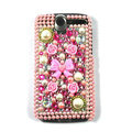 Flower Pearl bling crystal case cover for HTC G7 - pink