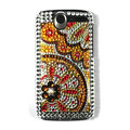 Flower bling crystal case cover for HTC G7 - gold