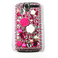 Flower bling crystal case cover for HTC G7 - pink