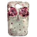 Bowknot Swarovski bling crystal case for HTC G8 - pink