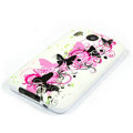 Silicone Case For HTC DESIRE HD G10 A9191 - Pink butterfly pattern