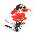 Silicone Case For HTC DESIRE HD G10 A9191 - Red flower pattern