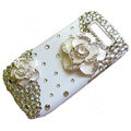 Camellias Swarovski bling crystal case for Nokia E71 - white