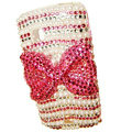 Bowknot bling crystal case for Nokia C5-03 - pink