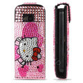 Pink bling crystal Leather holster case for Nokia C5-03