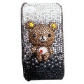 Bling Gradient black Bear crystal case for iPhone 4G