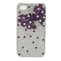 Purple bowknot bling crystal case for iPhone 4G