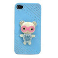 Bling Kawaii Bear crystal case for iPhone 4G - blue