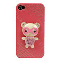 Bling Kawaii Bear crystal case for iPhone 4G - pink