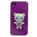 Bling Kawaii Bear crystal case for iPhone 4G - purple