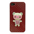 Bling Kawaii Bear crystal case for iPhone 4G - red