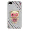 Bling Kawaii Bear crystal case for iPhone 4G - white