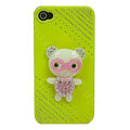 Bling Kawaii Bear crystal case for iPhone 4G - yellow