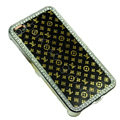 Bling LV metal case crystal cover for iPhone 4G - black