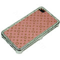 Bling LV metal case crystal cover for iPhone 4G - pink