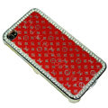 Bling LV metal case crystal cover for iPhone 4G - red