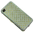 Bling LV metal case crystal cover for iPhone 4G - white