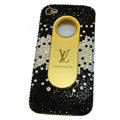LV Bling crystal hard case for iPhone 4G - black EB002