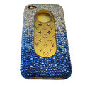 LV Bling crystal hard case for iPhone 4G - blue