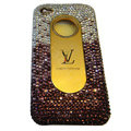 LV Bling crystal hard case for iPhone 4G - purple